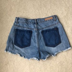 Denim Shorts Two Toned distressed hem jean Blue